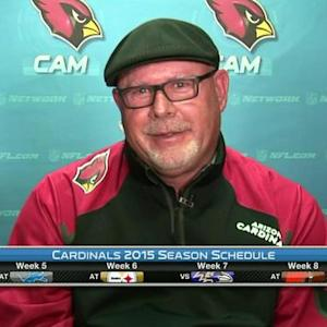 Arizona Cardinals head coach Bruce Arians reacts to the Cardinals' 2015 schedule