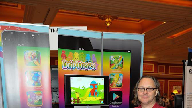 IMAGE DISTRBUTED FOR DRIP DROPS - App creator, Ian Morrison, seen at CES Showstoppers, on Tuesday, Jan. 8, 2013 in Las Vegas, Nevada, Drip Drops debuts Color the World app turning a tablet into a 3d digital coloring book for preschoolers. (Photo by Al Powers/Invision for Drip Drops/AP Images)