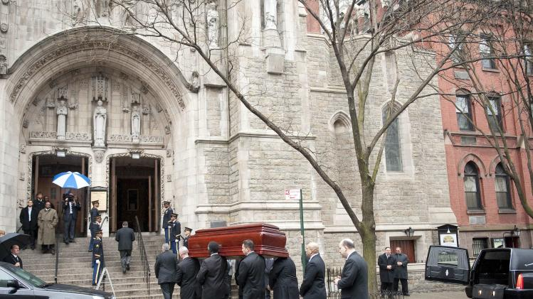 Pallbearers carry the casket of former vice presidential candidate Geraldine Ferraro into her funeral mass Thursday, March 31, 2011 in New York. (AP Photo/Stephen Chernin)