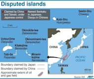 A graphic showing disputed islands claimed by Japan and China -- known as Senkaku by Tokyo and Diaoyu by Beijing