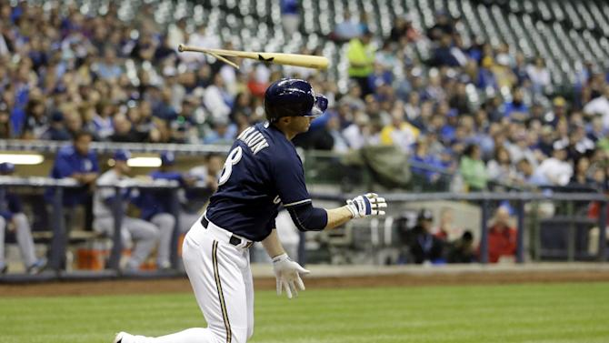 Milwaukee Brewers' Ryan Braun breaks his bat as he grounds out during the second inning of a baseball game against the Los Angeles Dodgers Wednesday, May 6, 2015, in Milwaukee. (AP Photo/Morry Gash)
