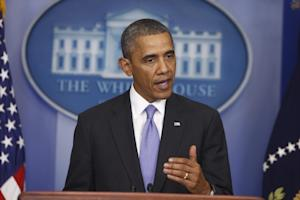 President Barack Obama makes a statement to reporters …