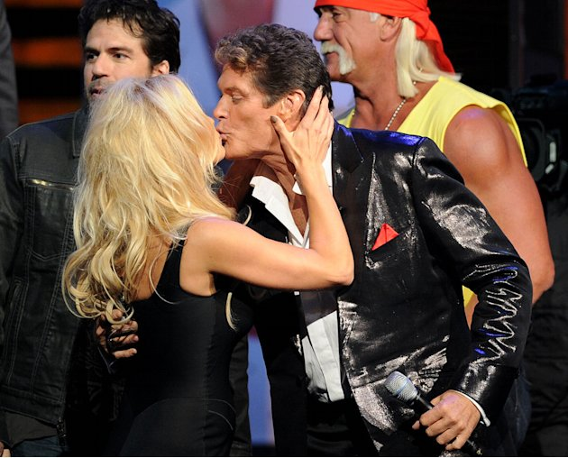 "Pamela Anderson (L) and David Hasselhoff onstage during the ""Comedy Central Roast Of David Hasselhoff"" held at Sony Pictures Studios on August 1, 2010 in Culver City, California."