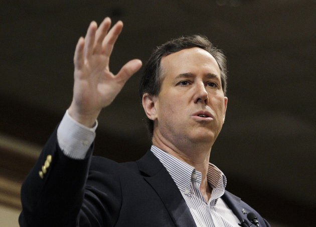 Republican presidential candidate, former Pennsylvania Sen. Rick Santorum speaks at the Livonia Chamber of Commerce breakfast, Monday, Feb. 27, 2012, in Livonia, Mich. (AP Photo/Eric Gay)