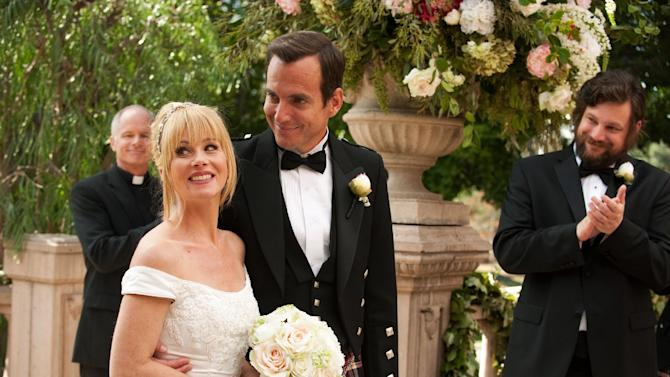 "This undated publicity photo released by NBC shows Christina Applegate, left, as Reagan Brinkley and Will Arnett, as Chris Brinkley, in the TV series, ""Up All Night,"" Season 2, ""The Wedding,"" Episode 211.  Applegate says she's bowing out of NBC's ""Up All Night."" In a statement Friday, the actress said the show has taken a ""different creative direction"" and she's decided to move on to other projects. She called the sitcom a great experience and said she will miss her co-workers. (AP Photo/NBC, Colleen Hayes)"
