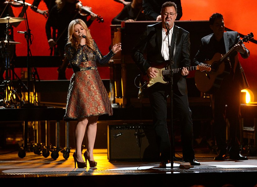 Performing with Vince Gill during the 2012 CMAs