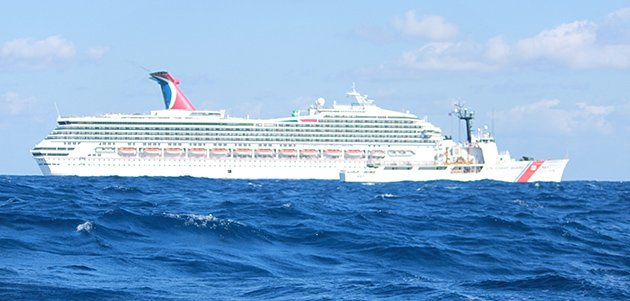Carnival Triumph in the Gulf of Mexico (photo handout from U.S. Coast Guard)
