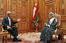U.S. Secretary of State John Kerry, left, meets with Oman's Sultan Qaboos bin Said at Bait Al Baraka in Muscat, Oman, Tuesday, May 21, 2013. (AP Photo?Jim Young,Pool)