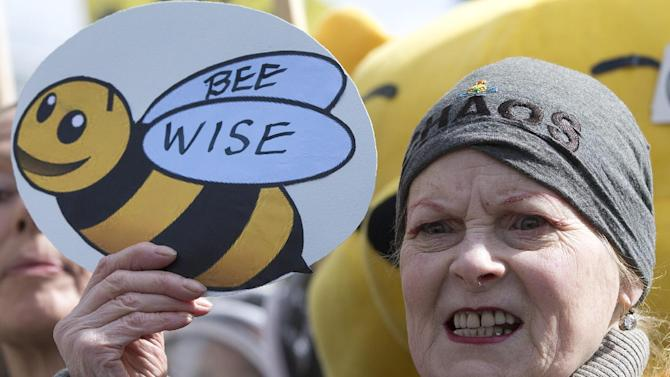 British fashion designer Vivienne Westwood holds up a sign supporting bee-keepers as she joins a demonstration outside the Place of Westminster in support of apiarists and their campaign to show public opinion ahead of the European Commission vote on the proposal to ban bee-harming neonicotinoid pesticides, in London, Friday, April, 26, 2013. (AP Photo/Alastair Grant)