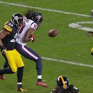 Pittsburgh Steelers safety Mike Mitchell rips, safety Troy Polamalu scoops up fumble