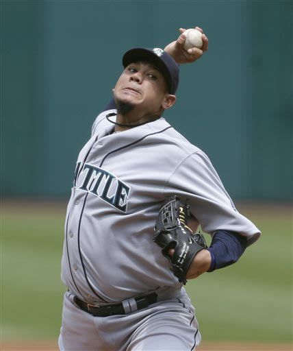 Seattle Mariners starting pitcher Felix Hernandez delivers in the first inning of a baseball game against the Cleveland Indians, Sunday, May 19, 2013, in Cleveland