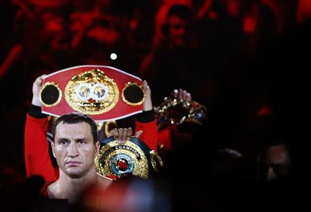 Heavyweight boxing world champion Klitschko walks in for his title fight against Pianeta in Mannheim