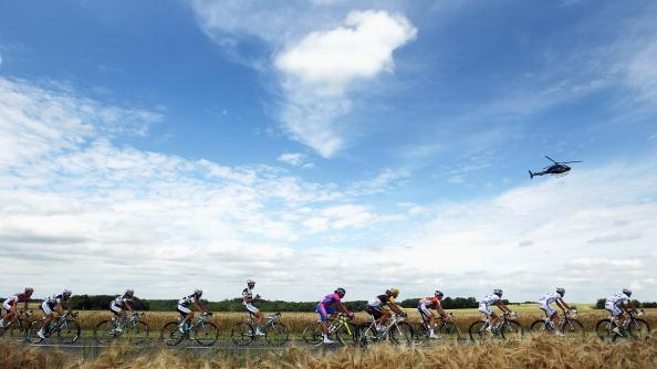 The peloton ride through the French countryside during stage five of the 2012 Tour de France from Rouen to Saint-Quentin on July 5, 2012 in Saint-Quentin, France. (Photo by Bryn Lennon/Getty Images)