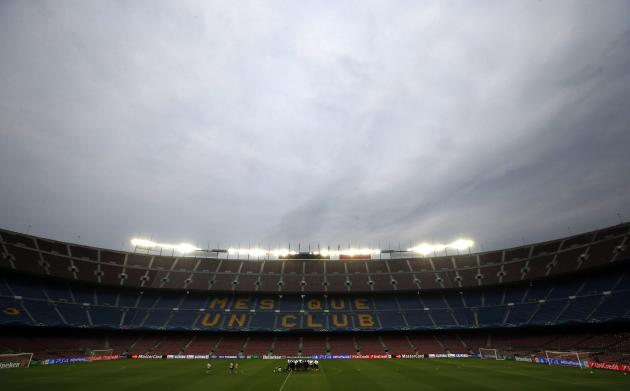 Players from Manchester City attend training session at Camp Nou stadium in Barcelona