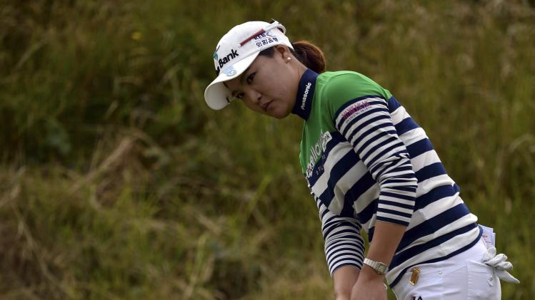 So Yeon Ryu of South Korea putts at the 11th hole during the women's British Open golf tournament at Royal Birkdale Golf Club in Southport