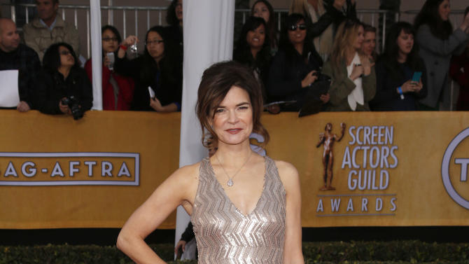 Betsy Brandt arrives at the 19th Annual Screen Actors Guild Awards at the Shrine Auditorium in Los Angeles on Sunday Jan. 27, 2013. (Photo by Todd Williamson/Invision for The Hollywood Reporter/AP Images)