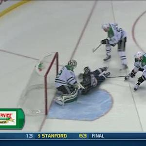 Sobotka scores as he collides with Lehtonen