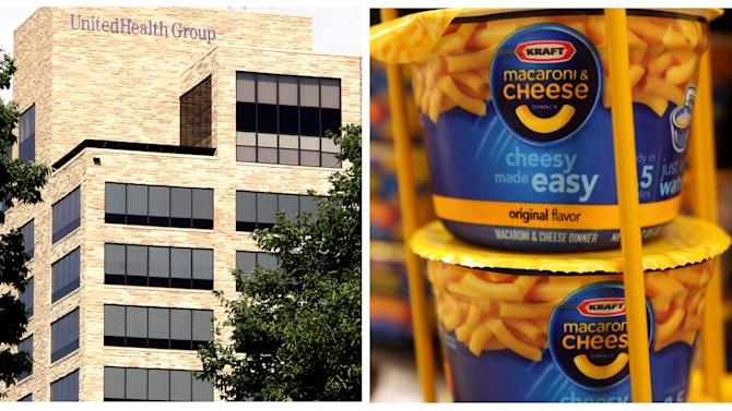 This combination of Associated Press file photos, show the UnitedHealth Group Inc.'s headquarters in Minnetonka, Minn. on July 16, 2007, left, and Kraft Macaroni & Cheese at a Ralphs Fresh Fare supermarket in Los Angeles on Feb. 9, 2011. The Dow Jones industrial average, an index that is closely watched as a measure of the entire stock market, announced Friday, Sept. 14, 2012, that it would boot Kraft Foods to make room for UnitedHealth Group. The change, effective Sept. 24, is because Kraft is about to become a much smaller company, after it spins off its North American grocery business. (AP Photo)