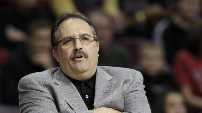 FILE - This April 3, 2012 file photo shows Orlando Magic head coach Stan Van Gundy watching from the sidelines during the first quarter of an NBA basketball game against the Detroit Pistons,  at the Palace in Auburn Hills, Mich. The Magic have fired coach Van Gundy after a rocky season. The moves came Monday, May 21, 2012 after the team's second straight first-round playoff exit. (AP Photo/Carlos Osorio, File)