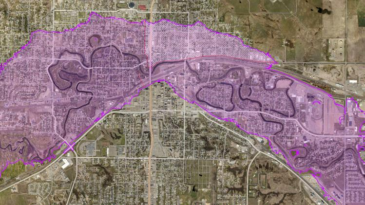 This map produced June 21, 2011, by the North Dakota Department of Emergency Services shows a projected worst-case scenario of flooding from the Souris River in Minot, N.D., should the river overtop the levees. The area designated by hash marks is protected by a secondary levee. (AP Photo/North Dakota Department of Emergency Services via The Forum)