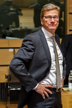 Germany's foreign minister Guido Westerwelle arrives for an EU foreign ministers meeting at the Kirchberg Conference Center in Luxembourg, Monday, April 22, 2013. (AP Photo/Geert Vanden Wijngaert)