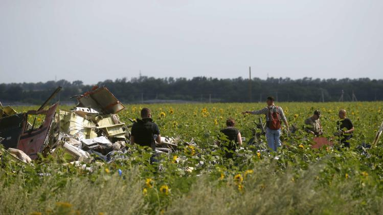 Malaysian air crash investigators inspect the crash site of Malaysia Airlines Flight MH17, near the village of Rozsypne, Donetsk region