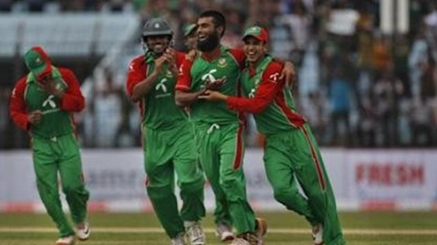 CRICKET Bangladesh player Suhrawadi Shuvo, second right, celebrates with teammates the dismissal of West Indies batsman Andre Russell, unseen, during in their third and final one-day international cricket match at Chittagong