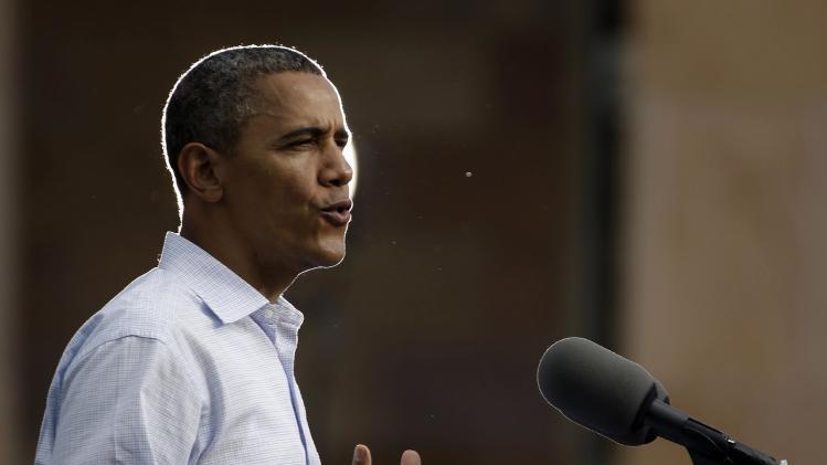 President Barack Obama speaks during a campaign event at University of Colorado Boulder, Sunday, Sept. 2, 2012, in Boulder, Colo. (AP Photo/Pablo Martinez Monsivais)