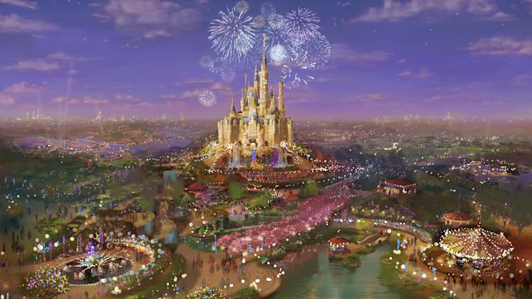 This photo provided by Disney Parks, shows an artist's rendering that depicts the proposed Shanghai Disney Resort. Walt Disney Co. and its Shanghai partner broke ground Friday, April 8, 2011 for a long-awaited theme park that Disney hopes will draw legions of newly affluent Chinese and provide a cornerstone for its brand in the world's most populous country. (AP Photo/Disney Parks)