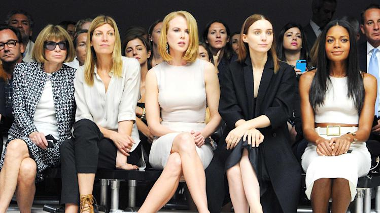 This image released by Calvin Klein Collection shows, from left, Anna Wintour, Virginia Smith, Nicole Kidman, Rooney Mara, and Naomie Harris at the Calvin Klein Spring 2014 collection during Fashion Week in New York on Thursday, Sept. 12, 2013. (AP Photo/Calvin Klein Collection, Billy Farrell)