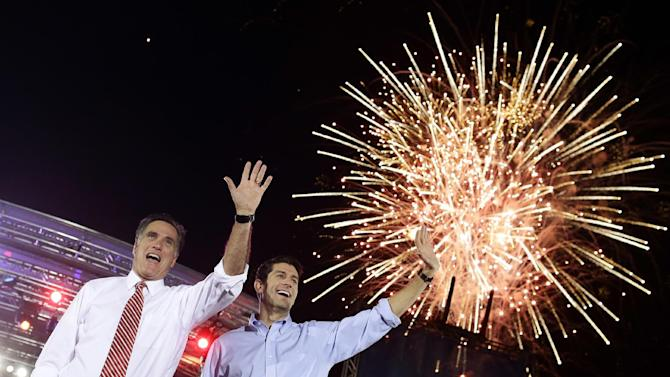 Republican presidential candidate and former Massachusetts Gov. Mitt Romney campaigns with vice presidential candidate Paul Ryan in Fishersville, Va., Thursday, Oct. 4, 2012. (AP Photo/Charles Dharapak)