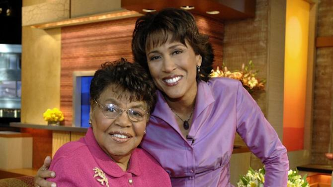 "This 2006 photo released by ABC shows ""Good Morning America"" co-host Robin Roberts, right, with her mother Lucimarian Roberts on the set in New York. Jeffrey W. Schneider, senior vice president of ABC News, said 88-year-old Lucimarian Roberts died Thursday, Aug. 30, 2012. ABC's Facebook page said Robins traveled ""home to Mississippi just in time to see her."" The death came on the same day Roberts said goodbye to her co-workers and audience before starting medical leave for a bone marrow transplant. Her departure had been set for Friday. But in a last-minute change of plans she told her viewers she was leaving a day early to visit her ailing mother.  WABC-TV said Lucimarian Roberts was the first African-American to head Mississippi's board of education. She also collaborated with her daughter on a book titled, ""My Story, My Song: Mother-Daughter Reflections on Life and Faith."" (AP Photo/ABC, Donna Svennevik)"