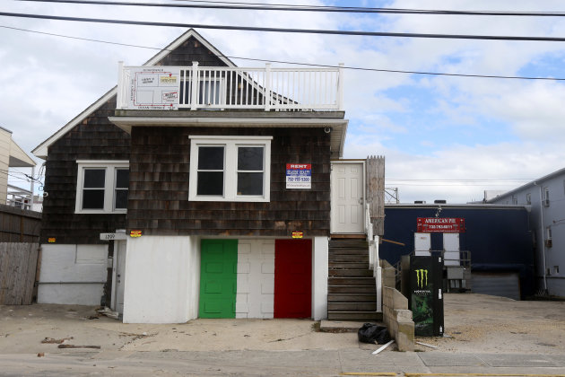 The house made famous by the cast of MTVs Jersey Shore is empty two days after superstorm Sandy rolled through the coast, Wednesday, Oct. 31, 2012, in Seaside Heights, N.J. Sandy, the storm that made landfall Monday, caused multiple fatalities, halted mass transit and cut power to more than 6 million homes and businesses. (AP Photo/Julio Cortez)
