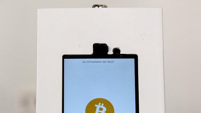 A Bitcoin ATM is seen inside the Bitcoin Center New York City in New York's financial district