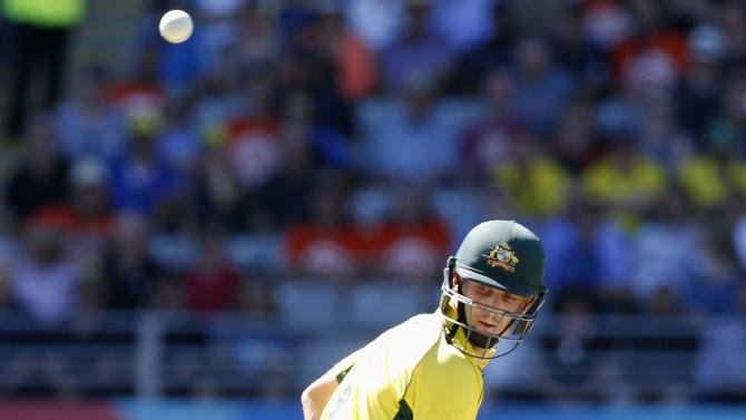 Australia's Shaun Marsh is bowled out by by New Zealand's Trent Boult in their Cricket World Cup match in Auckland