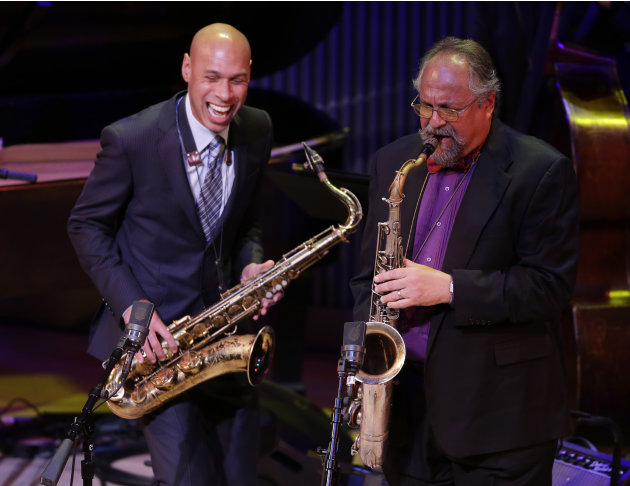 Saxophonists Joshua Redman, left, and Joe Lovano, right, perform during the opening night concert of the SFJAZZ Center Wednesday, Jan. 23, 2013 in San Francisco. The 700-seat, specially designed conce