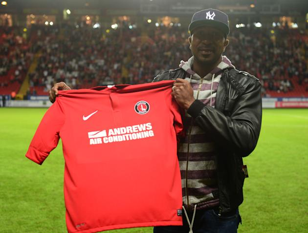 Charlton's new signing Ricardo Fuller is unveiled to the crowd at half-time against Leicester