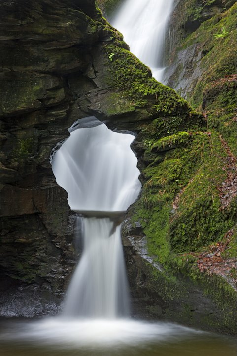 'Merlin's Well', St Nectan's Glen, Cornwall: Adam Burton's image of a waterfall, the hole above which he claims looks like Alfred Hitchcock, was commended in the Classic View category. (Adam Burton, L