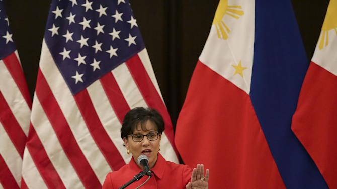 "U.S. Secretary of Commerce Penny Pritzker addresses the American Chamber of Commerce and Filipino businessmen Wednesday, June 4, 2014 at the financial district of Makati city east of Manila, Philippines. Pritzker told American and Filipino business groups Wednesday that the United States has overinvested its diplomatic, economic and strategic resources in other parts of the world. She said it was committed to policies ""to correct the imbalance and to deepen U.S. engagement"" with Asia. (AP Photo/Bullit Marquez)"