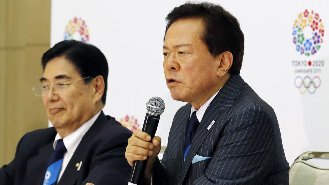Tokyo Gov. Naoki Inose, right, speaks as Vice President of Japanese Olympic Committee, Masato Mizuno listens during a press conference, following the International Olympic Committee's evaluation report on the 2020 Olympic bids in Tokyo,Tuesday, June 25, 2013. Less than three months before the IOC vote, Tokyo received the most praise in a technical assessment of the three cities bidding for the 2020 Olympics on Tuesday.(AP Photo/Koji Sasahara)