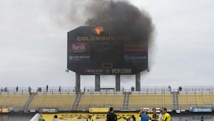 Scoreboard at Columbus Crew Stadium functioning normally after fire, ready for use this weekend