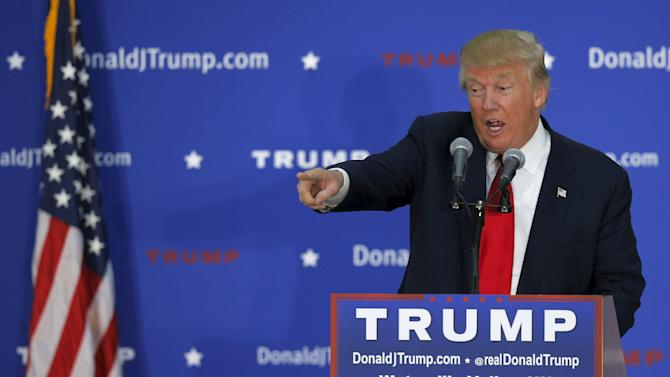 U.S. Republican presidential candidate Donald Trump speaks at a campaign rally in Waterville Valley