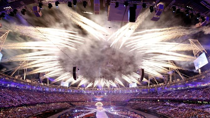 Fireworks explode during the Closing Ceremony at the 2012 Summer Olympics, Monday, Aug. 13, 2012, in London. (AP Photo/Alastair Grant)