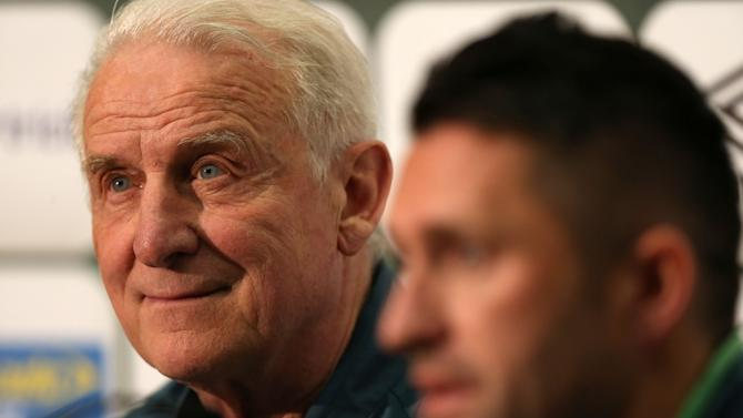 Republic of Ireland's coach Giovanni Trapattoni, left,  and Robbie Keane attend a press conference at Wembley Stadium, London. Tuesday May 28, 2013.  Ireland will play England in an international soccer friendly at Wembley on Wednesday (AP Photo/John Walton/PA) UNITED KINGDOM OUT