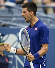 Novak Djokovic celebrates after winning the first set against Stanislas Wawrinka at the US Open on September 5. Djokovic was leading when Wawrinka retired after complaining of dizziness and handed Djokovic a 14th successive Grand Slam quarter-final place