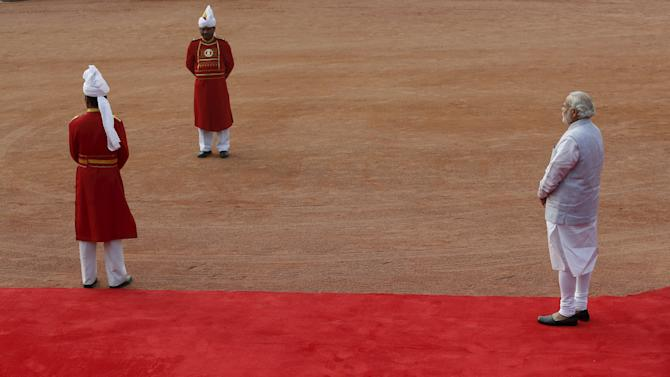 India's Prime Minister Modi waits to receive Sheikh Mohammed al-Nahyan Crown Prince of Abu Dhabi during a ceremonial reception at the forecourt of India's Rashtrapati Bhavan presidential palace in New Delhi
