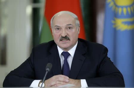 Belarus President Lukashenko speaks during a news conference after a meeting of the Eurasian Economic Union at the Kremlin in Moscow