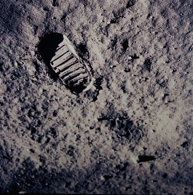 In this July 20, 1969 file photo, a footprint left by one of the astronauts of the Apollo 11 mission shows in the soft, powder surface of the moon. Commander Neil A. Armstrong and Air Force Col. Edwin