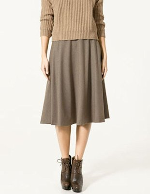 longer skirt bare legs anke boots