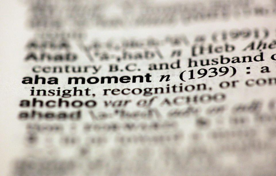 "The entry ""aha moment,"" photographed in New York,  Friday, Aug. 10, 2012, is one of the 15 new additions in the 11th edition of Merriam-Webster's Collegiate Dictionary. (AP Photo/Richard Drew)"